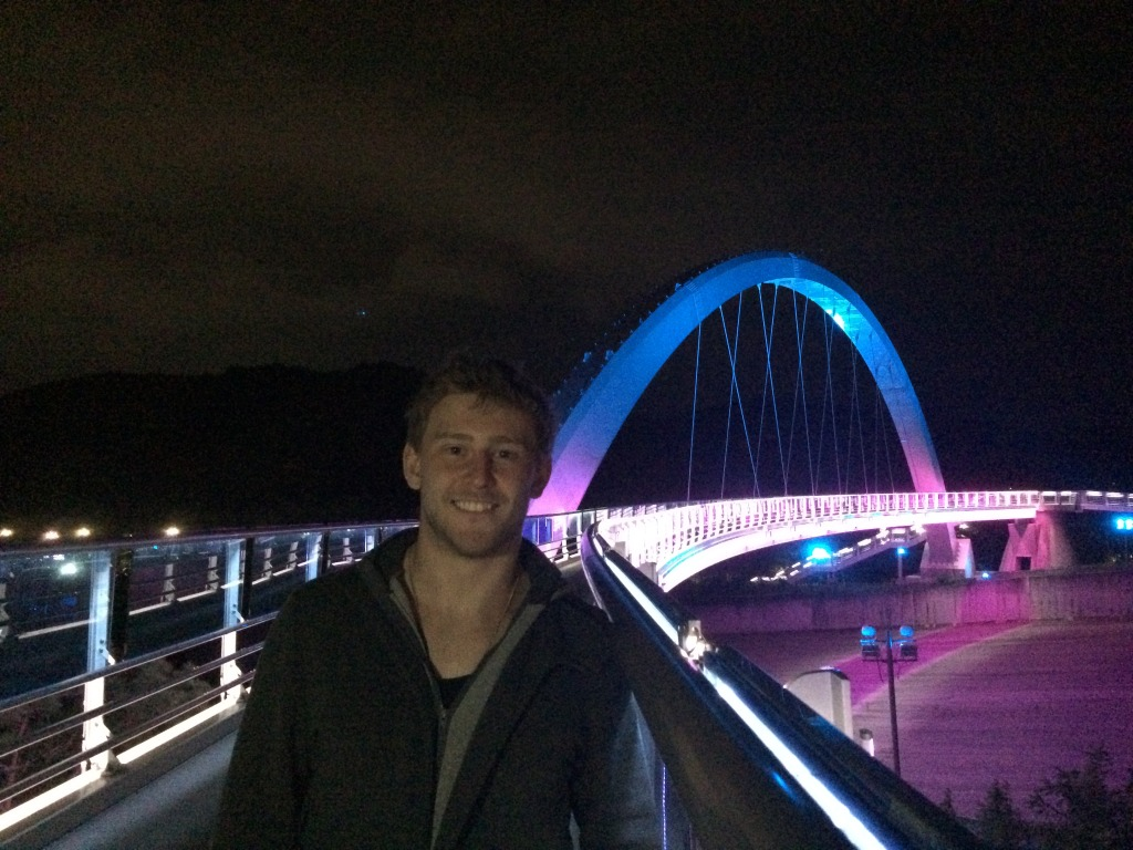 Myself in front of a colourful bridge in Gyeongju