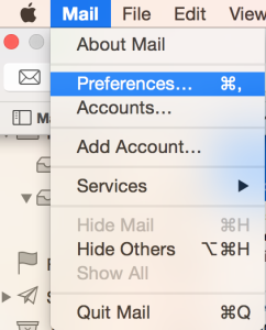 Opening Mail Preferences using Command+,