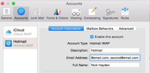 Adding email addresses in settings